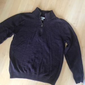DKNY Purple Crewneck Pullover Sweater W/ 3/4 Zip